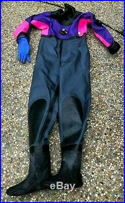 $1200 Andy's Scuba Diving Drysuit Wet Suit Womens Lady Small Tall Boots Size 6