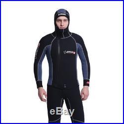 5MM Men's Neoprene Diagonal Zipper Scuba Diving Suits Thickening Hooded Wetsuit
