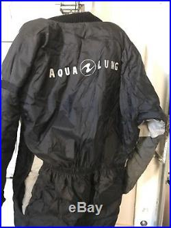 Aqualung x-tra Nordic Dry Suit set Scuba Diving Black and Silver XL