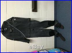 DUI TLS350 Black Scuba Drysuit Men's Size X-Large with NEW Zip Seals