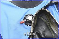DUI TLS 350 Dry Suit Scuba Diving Blue Custom Fit Inseam 40