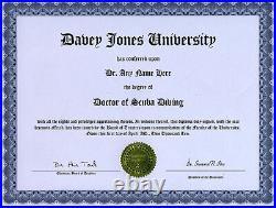Doctor Scuba Diving Novelty Diploma Regulator Drysuit