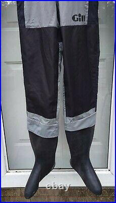 Gill Rear-Zip Drysuit Size SMALL, Model 4850, EXCELLENT, scuba dive dry suit