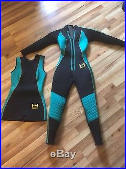 HARVEYS Women's Warmdry 4mm Neoprene Scuba Drysuit XS plus US Divers tank vest