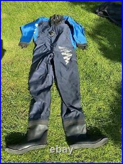 Hydrotech Scuba Diving Drysuit size XL, Apeks Valves, Cuff Dump, Boot Size 11