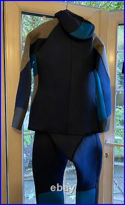 Mares Antartide Sz 6 Mens Scuba Free Diving 2 Piece Semi Dry Suit 7mm Hooded