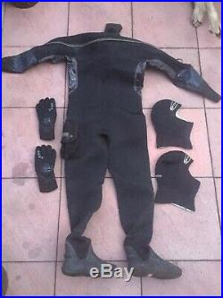 OThree Dry Suit Port 10 Size M/L Scuba Diving Wreck UK Boot Size 9 Dive Base