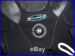 O'Three RI 2-100 Scuba Diving Dry Suit Mens Medium M (5ft8) Boots 8 + P-valve