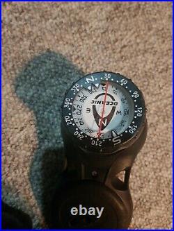 Oceanic scuba diving Alpha 8 regulator set including dry suit hose and compass