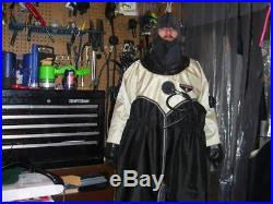 Os Systems Scuba Drysuit Medium Rubber Hood & Neck Seal & Socks & Wrists