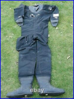 Otter Skin Scuba Drysuit VGC Size Std Mens ML Boots 9 Latex Seals