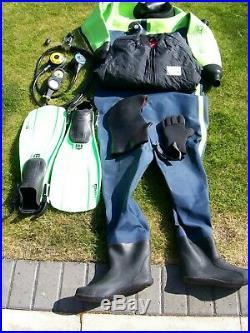 Scuba Diving Dry Suit / Equipment Complete Set Up