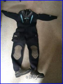 Scuba O3 Ladies Dry Suit Size 16/18 Black neoprene, used, but good condition