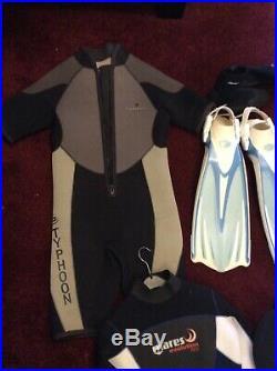 Scuba diving bundle drysuits wetsuits, hoods, boots, regs, fins, snorkel