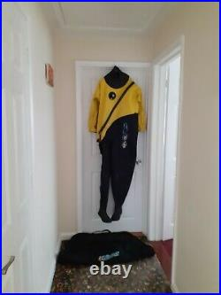 Scuba diving ladies dry suit, neoprene hood and changing mat/bag