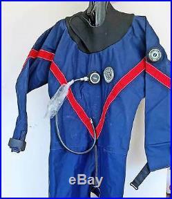 Seatec Dry Suit Vintage Rubber Sz M L Neck Wrist Dam Full Feet Scuba Dive Diving