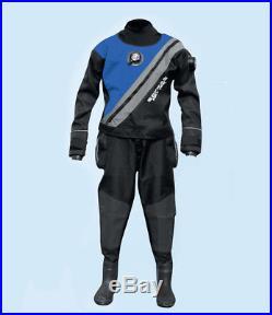 Sopras Sub Trilaminate Blue Scuba Diving DrySuit With Hard Sole Booties