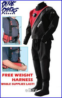 Sopras Sub Trilaminate Drysuit XL W Soft Boots 11 Cold Scuba Free Weight Harness