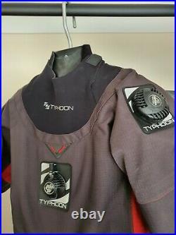 Typhoon Fathom Delux Drysuit Scuba Adult Small 7 Boot Apeks Valves used twice