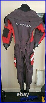 Typhoon Fathom Delux Drysuit Scuba Mens Adult Size Small with 7 Boot Exc Cond