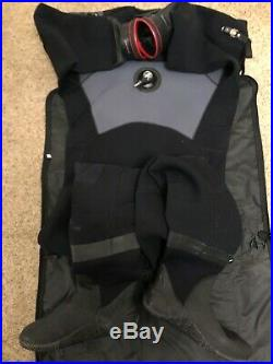 Typhoon Mens scuba drysuit with apex valves and dry gloves fitted