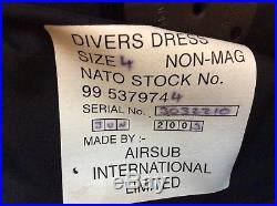 Very Rare Ex Royal Navy Kevlar Membrane Scuba Diving Dry Suit Size 4 Medium