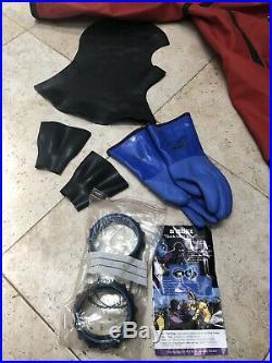Whites Hazmat Public Safety Drysuit Scuba Dive sz Small King Red Black with Bag